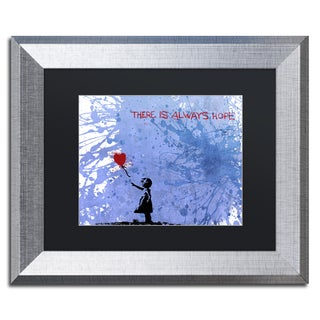 Banksy 'There Is Always Hope' Black Matte, Silver Framed Canvas Wall Art