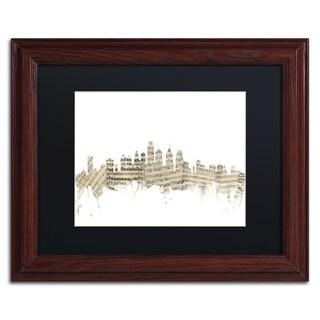 Michael Tompsett 'Philadelphia Skyline Sheet Music' Black Matte, Wood Framed Canvas Wall Art