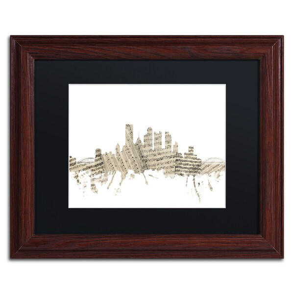 Michael Tompsett 'Pittsburgh Skyline Sheet Music' Black Matte, Wood Framed Canvas Wall Art