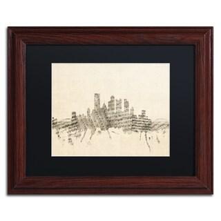 Michael Tompsett 'Pittsburgh Skyline Sheet Music II' Black Matte, Wood Framed Canvas Wall Art