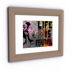 Banksy 'Life is Beautiful' White Matte, Birch Framed Canvas Wall Art