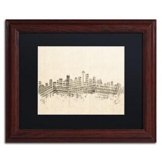 Michael Tompsett 'Seattle Skyline Sheet Music' Black Matte, Wood Framed Canvas Wall Art