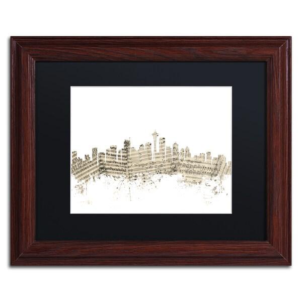 Michael Tompsett 'Seattle Skyline Sheet Music II' Black Matte, Wood Framed Canvas Wall Art