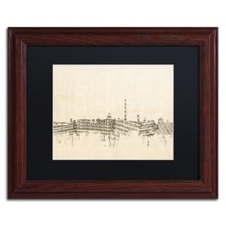 Michael Tompsett 'Washington DC Skyline Sheet Music' Black Matte, Wood Framed Canvas Wall Art