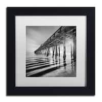 Moises Levy 'Pier and Shadows' White Matte, Black Framed Canvas Wall Art - White Matte/Black Frame