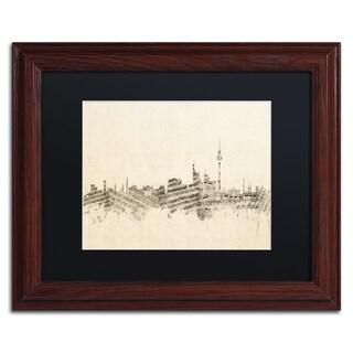 Michael Tompsett 'Berlin Skyline Sheet Music' Black Matte, Wood Framed Canvas Wall Art