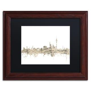 Michael Tompsett 'Berlin Skyline Sheet Music II' Black Matte, Wood Framed Canvas Wall Art