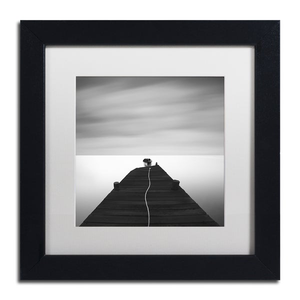Moises Levy 'Free' White Matte, Black Framed Canvas Wall Art