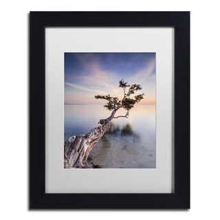Moises Levy 'Water Tree X' White Matte, Black Framed Canvas Wall Art