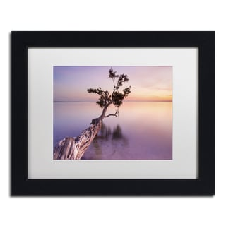 Moises Levy 'Water Tree XI' White Matte, Black Framed Canvas Wall Art