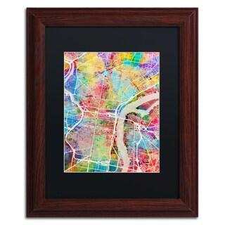 Michael Tompsett 'Philadelphia Street Map' Black Matte, Wood Framed Canvas Wall Art
