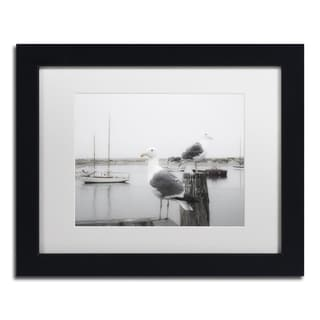 Moises Levy 'Two Seagulls & Boats' White Matte, Black Framed Canvas Wall Art