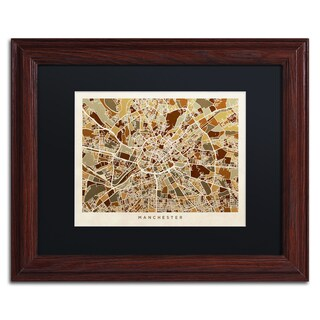 Michael Tompsett 'Manchester England Street Map II' Black Matte, Wood Framed Canvas Wall Art