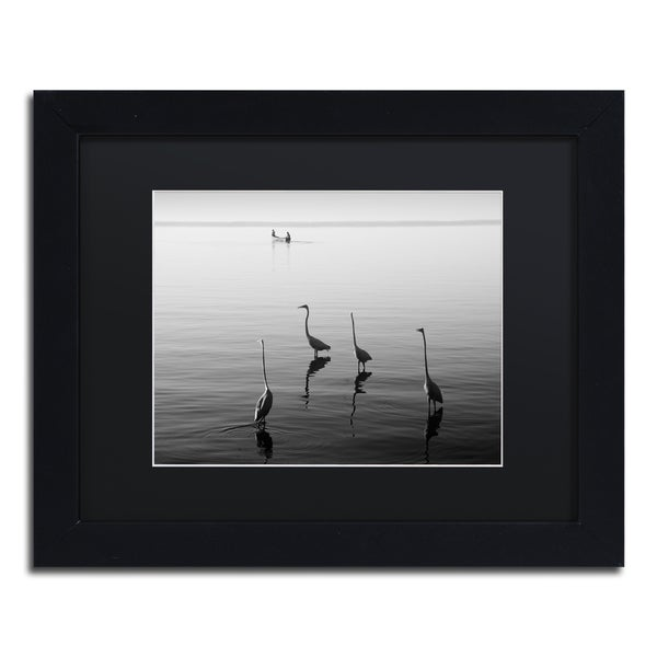 Moises Levy '4 Herons and Boat' Black Matte, Black Framed Canvas Wall Art