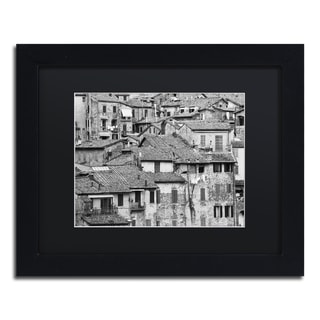 Moises Levy 'San Gimignano Texture' Black Matte, Black Framed Canvas Wall Art