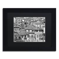 Moises Levy 'San Gimignano Texture' Black Matte, Black Framed Canvas Wall Art