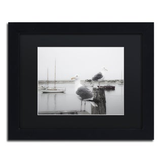 Moises Levy 'Two Seagulls & Boats' Black Matte, Black Framed Canvas Wall Art