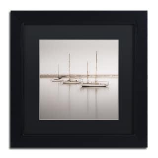 Moises Levy 'Three Boats' Black Matte, Black Framed Canvas Wall Art