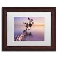 Moises Levy 'Water Tree XI' White Matte, Wood Framed Canvas Wall Art