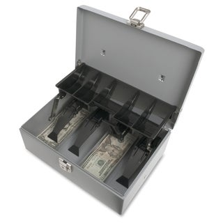 Sparco Grey Steel 5-compartment Tray Cash Box