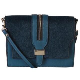 Rimen & Co. Clutch Fur Flap Baquette Cross Body Shoulder Small Handbag Removable Shoulder Accented Metal Zipper Look