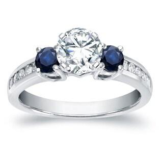 Auriya 14k White Gold 2/5ct Blue Sapphire and 3/5ct TDW 3-Stone Diamond Engagement Ring