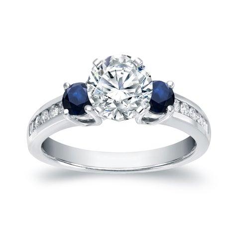 Auriya 14k White Gold 2/5ct Blue Sapphire and 7/8ct TDW 3-Stone Diamond Engagement Ring