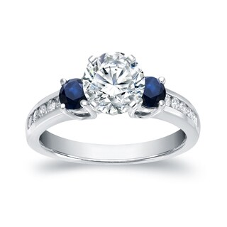 Auriya 14k White Gold 3-Stone 2/5ct Blue Sapphire and 7/8ct TDW Diamond Engagement Ring (5 options available)