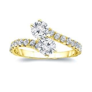 Auriya 14k Gold 1ct TDW Diamond Two Stone Ring (H-I, I1-I2)