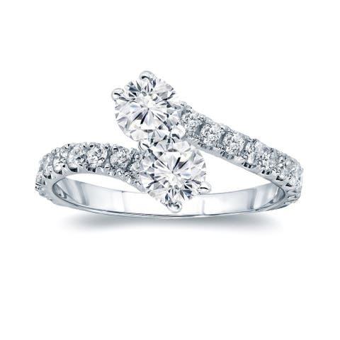 Auriya 14k Gold 1ctw 2 Stone Diamond Engagement Ring