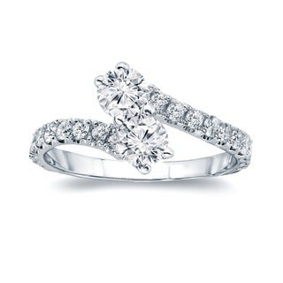 Auriya 14k Gold 3/4ct TDW 2-Stones Round Cut Diamond Ring (H-I, I1-I2)