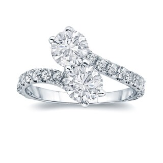 Auriya 14k Gold 2ct TDW 2-Stone Round Diamond Engagement Ring (More options available)