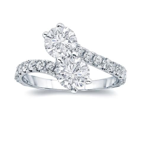 Auriya 2ct TDW 2-Stone Round Diamond Engagement Ring 14K Gold
