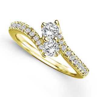 Auriya 14k Gold 1/2ct TDW 2-Stone Round Cut Diamond Ring (H-I, I1-I2)