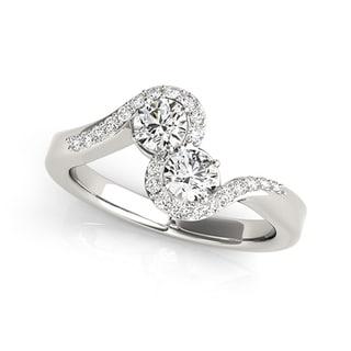 Auriya 14k Gold 1 2 Carat TW Round 2 Stone Diamond Ring