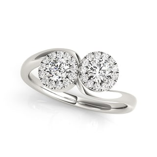 Auriya 14k White Gold 1/2ct TDW 2-Stone Round Cut Diamond Halo Ring (H-I, SI1-SI2)