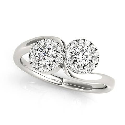 Auriya 14k Gold Round 3/4ctw 2-Stone Diamond Halo Engagement Ring 14k White Gold