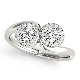Auriya 14k White Gold 1 1/4ct TDW 2-stone Round-cut Diamond Halo Ring