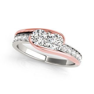 Auriya 14k Two-Tone Rose Gold 1/2ct TDW Round 2-Stone Diamond Engagement Ring (More options available)