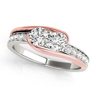 Auriya 14k Two-Tone Gold 1ct TDW 2-Stone Round Cut Diamond Ring (H-I, SI1-SI2)