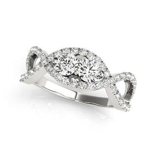 Auriya 14k White Gold 1/2ct TDW 2-Stone Round Cut Diamond Braided Ring