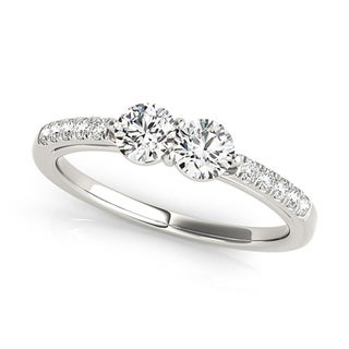 Auriya 14k White Gold 3/4ct TDW 2-Stone Round Cut Diamond Ring (H-I, SI1-SI2)