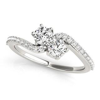 Auriya 14k White Gold 1ct TDW 2-Stone Round Cut Diamond Ring (H-I, SI1-SI2)