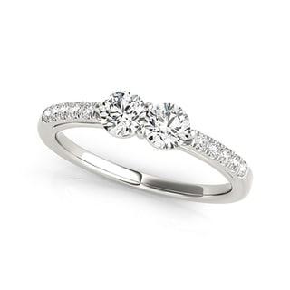 Auriya 14k White Gold 1/2ct TDW 2-Stone Round Cut Diamond Ring (H-I, SI1-SI2)