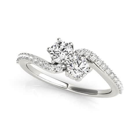 Auriya 14k Gold 1/2ctw Round Two-stone Diamond Engagement Ring 14k White Gold