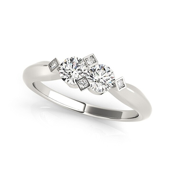 Auriya 14k White Gold 1/4ct TDW 2-Stone Round Cut Diamond Ring