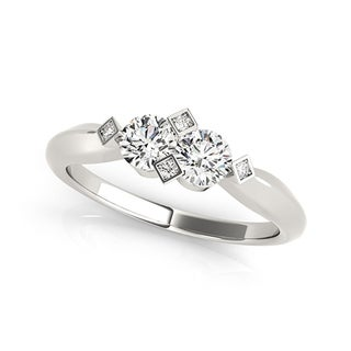 Auriya 14k White Gold 1/4ct TDW 2-Stone Round Cut Diamond Ring
