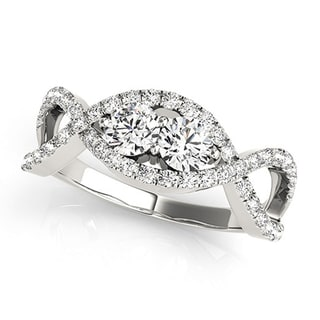 Auriya 14k Gold 1 Carat TW 2 Stone Infinity Diamond Engagement Ring