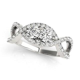 Auriya 14k White Gold 3/4ct TDW 2-Stone Round Cut Diamond Braided Ring (H-I, SI1-SI2)