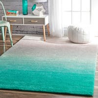 nuLOOM Handmade Soft and Plush Ombre Shag Turquoise Rug (9' x 12')